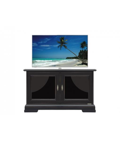 Meuble tv noir avec bords merisier lamaisonplus for Meuble tv petite largeur