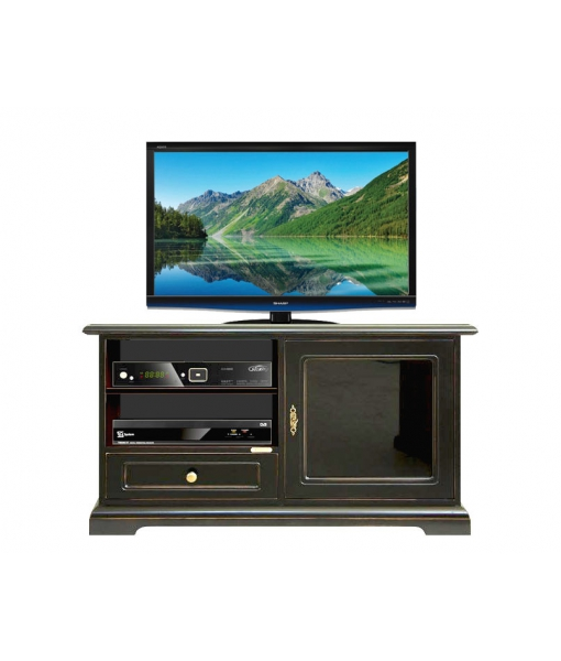 meuble tv bas noir avec porte vitr e lamaisonplus. Black Bedroom Furniture Sets. Home Design Ideas