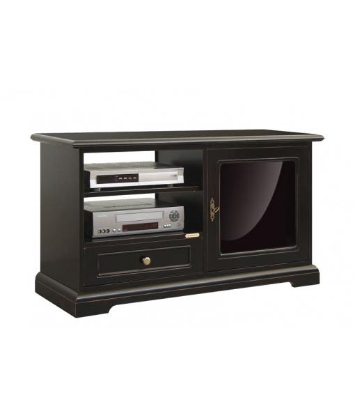 meuble tv bas noir avec porte vitr e lamaisonplus. Black Bedroom Furniture Sets. Home Design Ideas