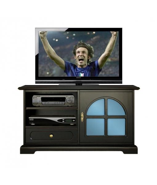 Meuble tv noir avec m thacrylate bleu lamaisonplus for Meuble avec cachette
