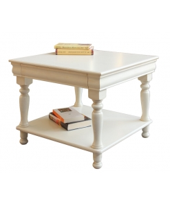 Table basse Louis Philippe, table basse carrée, table blanche pour salon