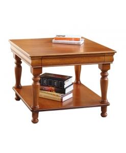 Table carrée Louis Philippe, table basse avec tiroir