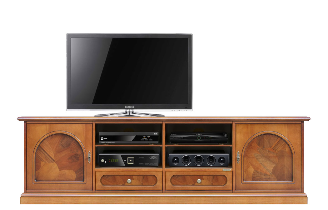 Meuble tv classique ronce de noyer lamaisonplus for Meuble tv petite largeur