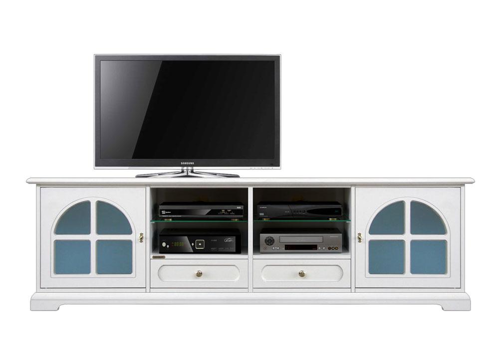 Meuble tv laqu avec verre d poli bleu lamaisonplus for Meuble avec cachette