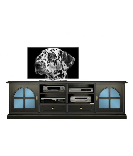 meuble tv laqué noir, meuble tv, meuble tv classique, ameublement pour le salon, Réf. 4010-Black