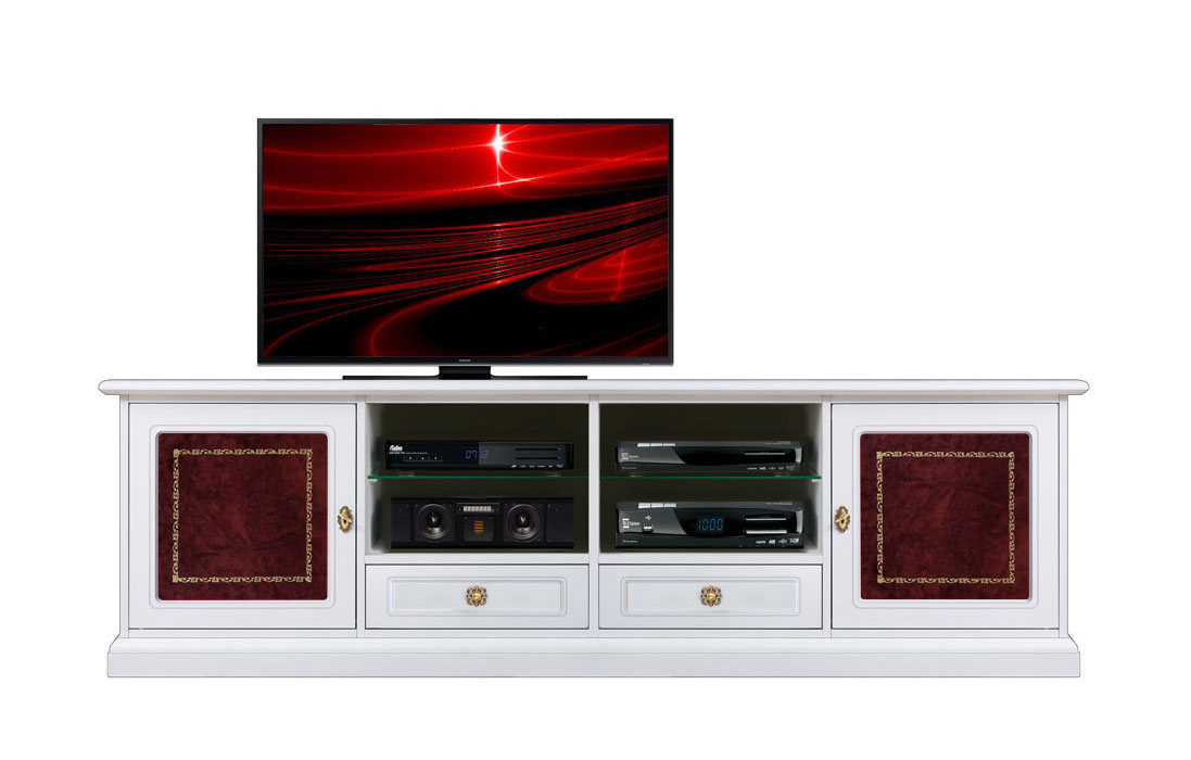 meuble tv hifi lcd 2 m tres largeur avec cuir rouge. Black Bedroom Furniture Sets. Home Design Ideas