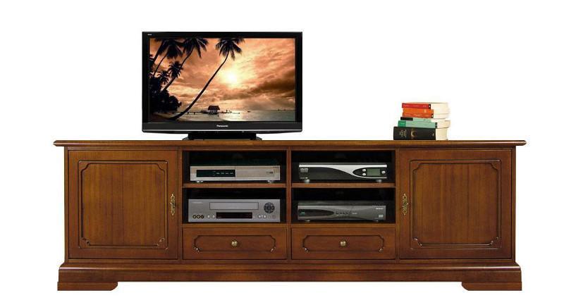 Meuble tv lcd en bois 2 m tres largeur lamaisonplus for Meuble tv petite largeur