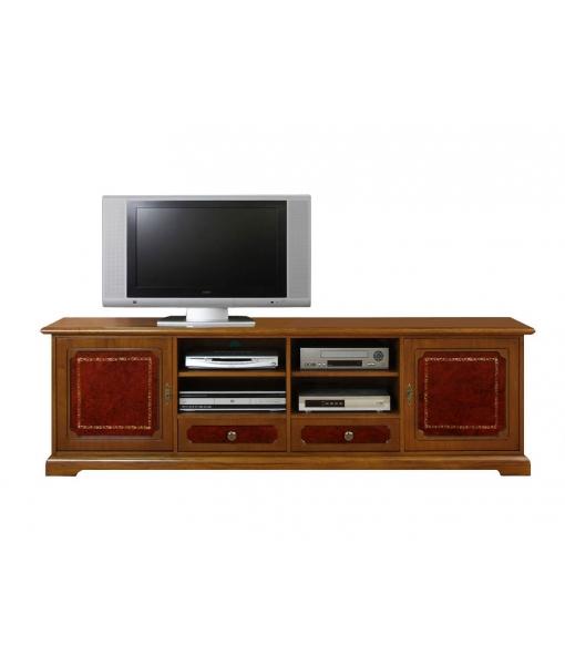 Meuble tv 2m largeur avec v ritable cuir lamaisonplus for Meuble avec cachette