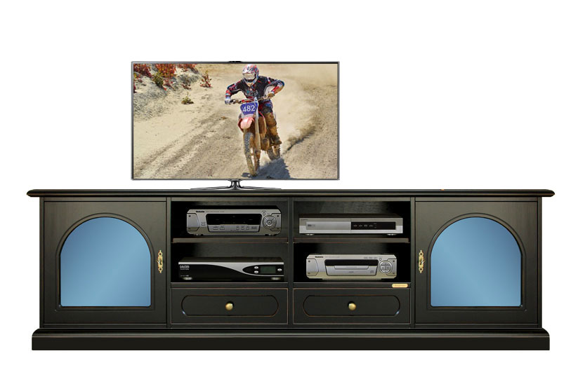 Meuble tv avec m thacrylate bleu lamaisonplus for Meuble avec cachette