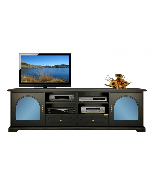 meuble tv avec m thacrylate bleu lamaisonplus. Black Bedroom Furniture Sets. Home Design Ideas