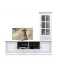 Composition meubles coin TV, meuble tv blanc, meuble tv grand espace, meuble télé classique