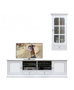 Composition meubles coin TV, meuble tv, vitrine suspendue, meuble banc tv
