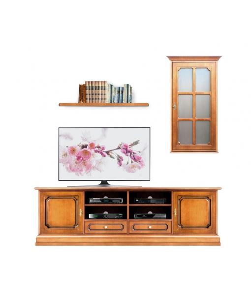 composition mur tv, ameublement pour le salon, ameublement de style classique, Réf. 4014-S-PLUS
