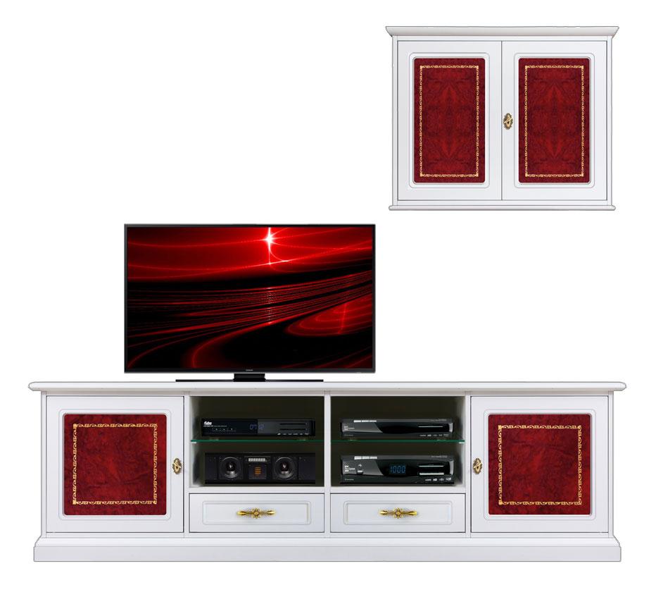 mur Tv laqué avec détails en cuir, banc tv et meuble mural