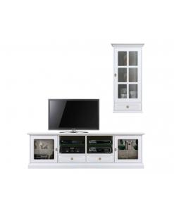 Composition meubles tv, banc tv et vitrine, meuble le coin tv, meuble tv blanc, meuble tv 2 mètres