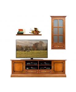 Ensemble meuble tv mural classique en bois Arteferretto