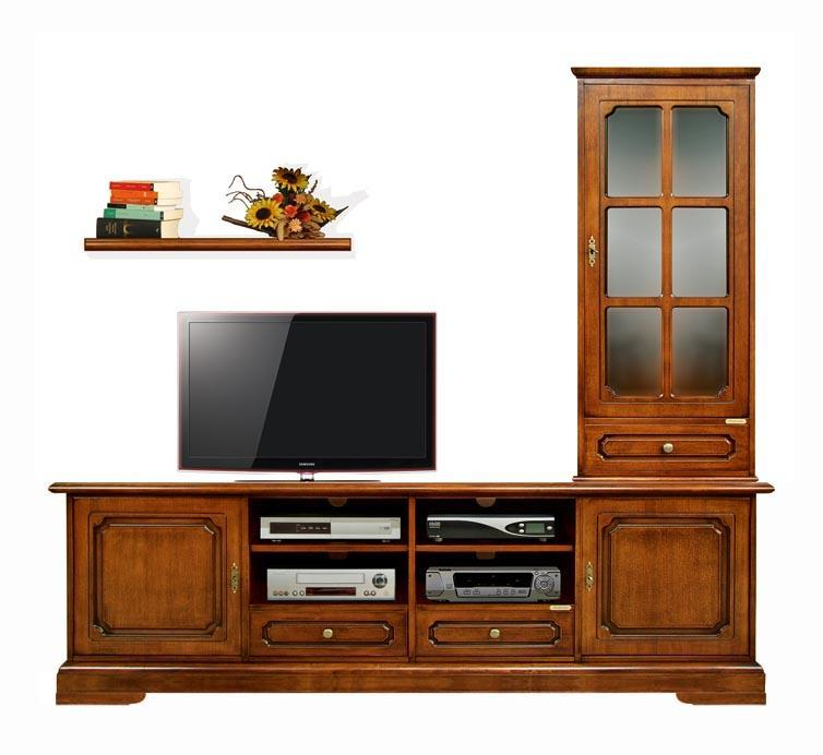 ensemble meuble tv mural classique en bois lamaisonplus. Black Bedroom Furniture Sets. Home Design Ideas
