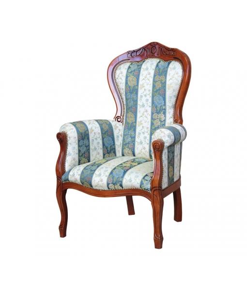 Fauteuil classique sculpté, fauteuil classique, style classique, ameublement de style, ameublement pour le salon, fauteuil de style pour la maison, fauteuil en bois