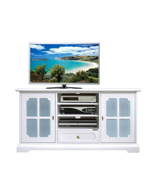 Meuble tv avec verre d poli bleu lamaisonplus for Meuble avec cachette