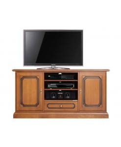 Meuble tv classique 130 cm largeur 2 portes, meuble tv 130 cm, meuble tv taille moyenne, meuble tv en bois, meuble tv portes et tiroir
