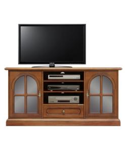 meuble tv, meuble tv en bois, meuble tv avec portes vitrées, ameublement classique, meuble tv classique,