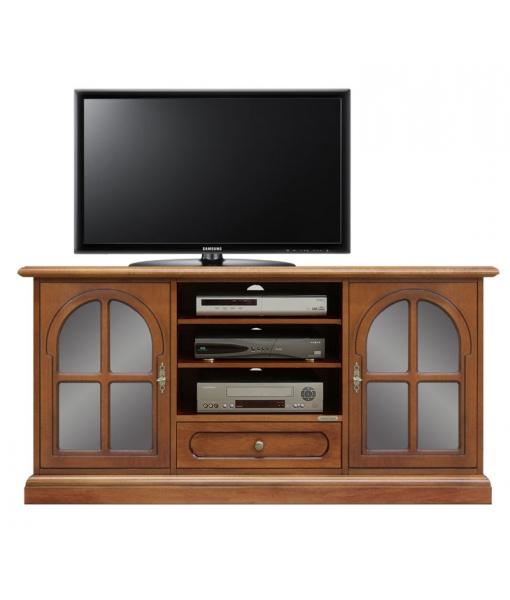 Meuble tv avec portes arrondies lamaisonplus for Meuble tv petite largeur
