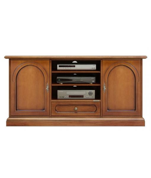 Meuble tv portes avec motif ronde lamaisonplus for Meuble avec cachette