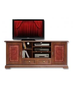 meuble tv, meuble tv en bois, meuble tv avec cuir véritable, meuble pour le salon