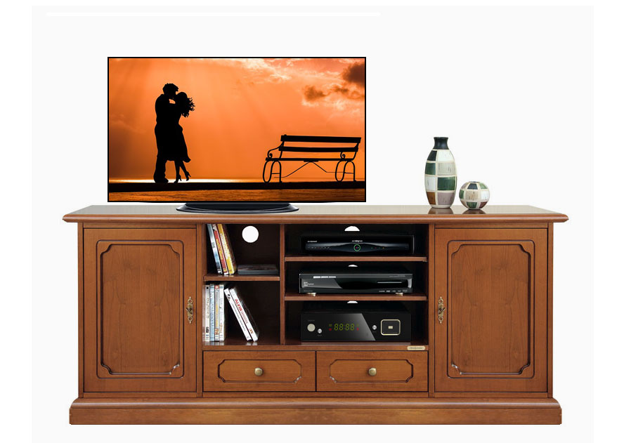 meuble tv hi fi en bois 160 cm largeur lamaisonplus. Black Bedroom Furniture Sets. Home Design Ideas
