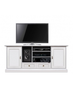 Meuble Tv Home Cinéma, meuble tv 160 cm, meuble tv blanc, meuble tv blanc laqué, meuble tv blanc en bois