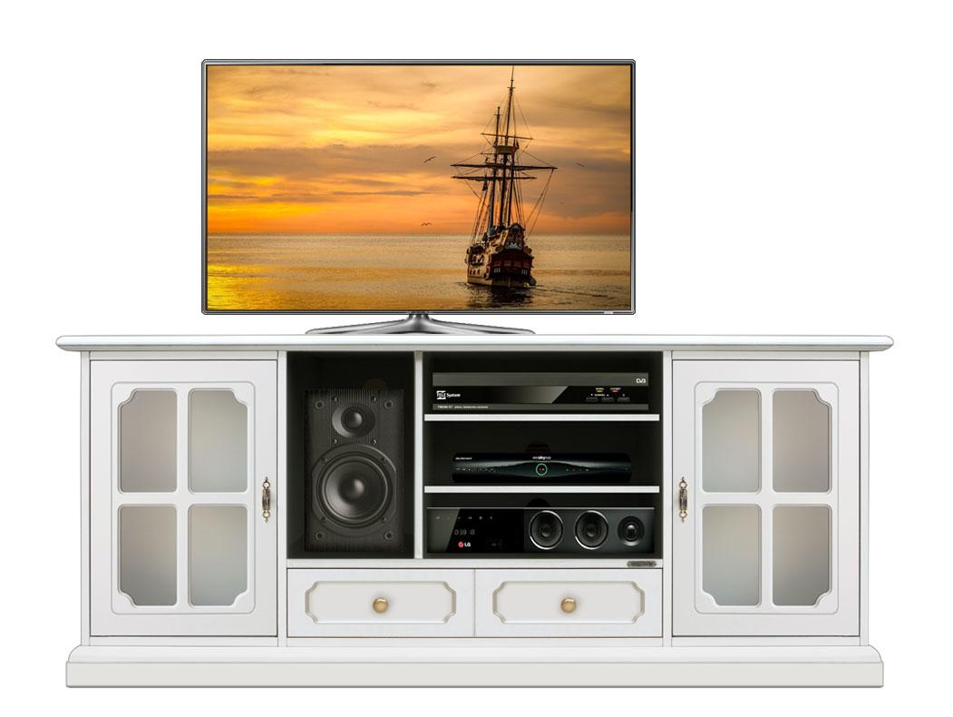 Meuble Tv 2 Portes 1 Tiroir Meuble Tv En Bois Laqu Fabriqu En  # Portes Televiseurs En Bois