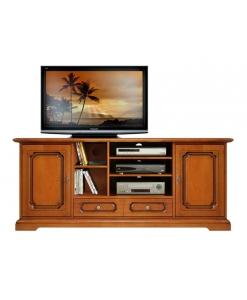 Meuble tv hifi 2 portes 1 tiroir lamaisonplus for Meuble tv petite largeur
