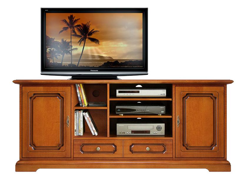 Meuble tv hi fi en bois 160 cm largeur lamaisonplus for Meuble tv hifi bois