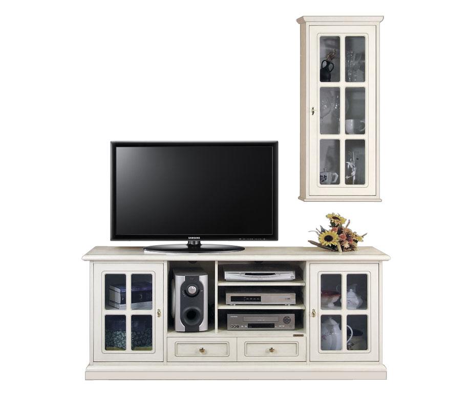 Meubles pour le salon meuble tv en bois laqu et vitrine for Les meubles pour salon