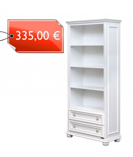 417-AV - Meuble bibliothèque classique blanc