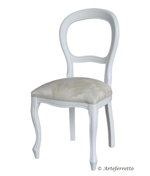 Chaise blanc laquée style Louis Philippe - LaMaisonPlus