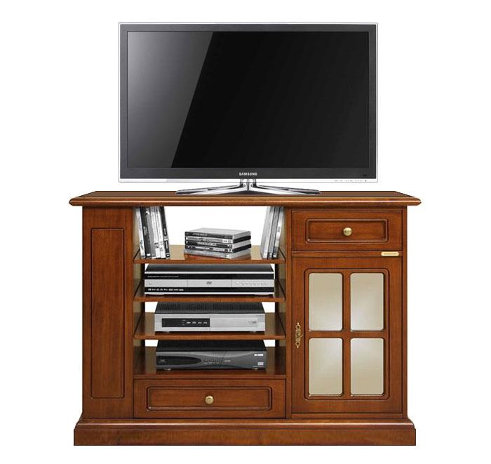 Meuble tv hifi complet merisier meuble tv en bois 2 tiroirs 1 porte vitr e ebay for Meuble qui a plusieurs tiroirs