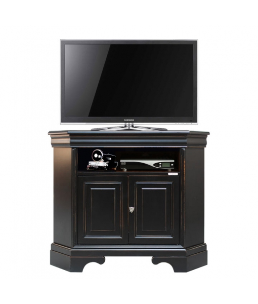 meuble tv d 39 angle noir et merisier lamaisonplus. Black Bedroom Furniture Sets. Home Design Ideas