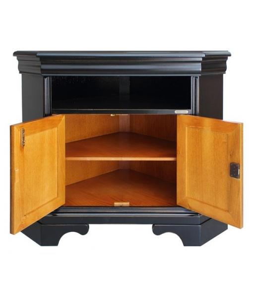 Meuble tv d 39 angle noir et merisier lamaisonplus for Meuble avec cachette