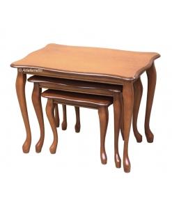 Trio tables basses gigogne, tables basses de petite taille, tables gigognes classiques en bois