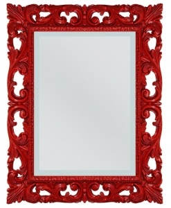 Miroir design rouge, miroir rouge, miroir mural