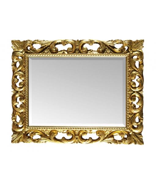 Miroir sculpté feuille or ou argent, miroir feuille d'or, miroir rectangulaire, miroir en bois