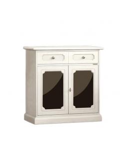 Petit buffet laqué avec Plexiglass, meuble buffet bahut blanc, meuble buffet petite taille, meuble buffet blanc, bahut blanc