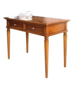 Bureau marqueté, bureau classique, bureau en bois, bureau avec 2 tiroirs, ameublement de style classique, ameublement pour le bureau