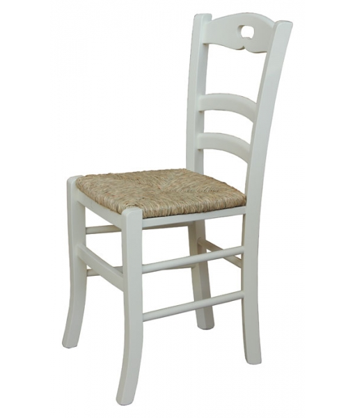 Chaise de cuisine en bois massif lamaisonplus - Chaise paille blanche ...