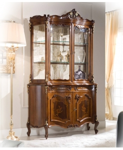 Vitrine classique marquetée, vitrine classique, vitrine de style, vitrine en bois, vitrine marquetée, ameublement de style classique, ameublement de style pour le salon