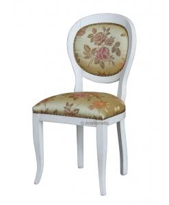 chaise laquée, chaise en bois, tissu feuilles
