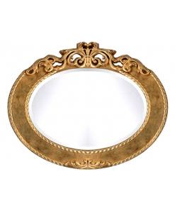 Miroir ovale en feuille d'or