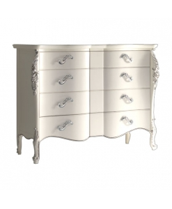 Commode 4 tiroirs, commode blanche, rangement chambre