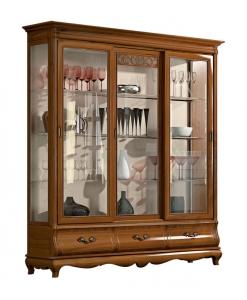 avec portes coulissantes, vitrine argentier, vitrine en bois, vitrine de style, style classique, ameublement de style, ameublement pour le salon